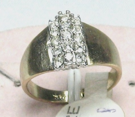 VINTAGE 18KT H. G.F C.Z. WIDE BAND COCKTAIL Ring sz 5-9