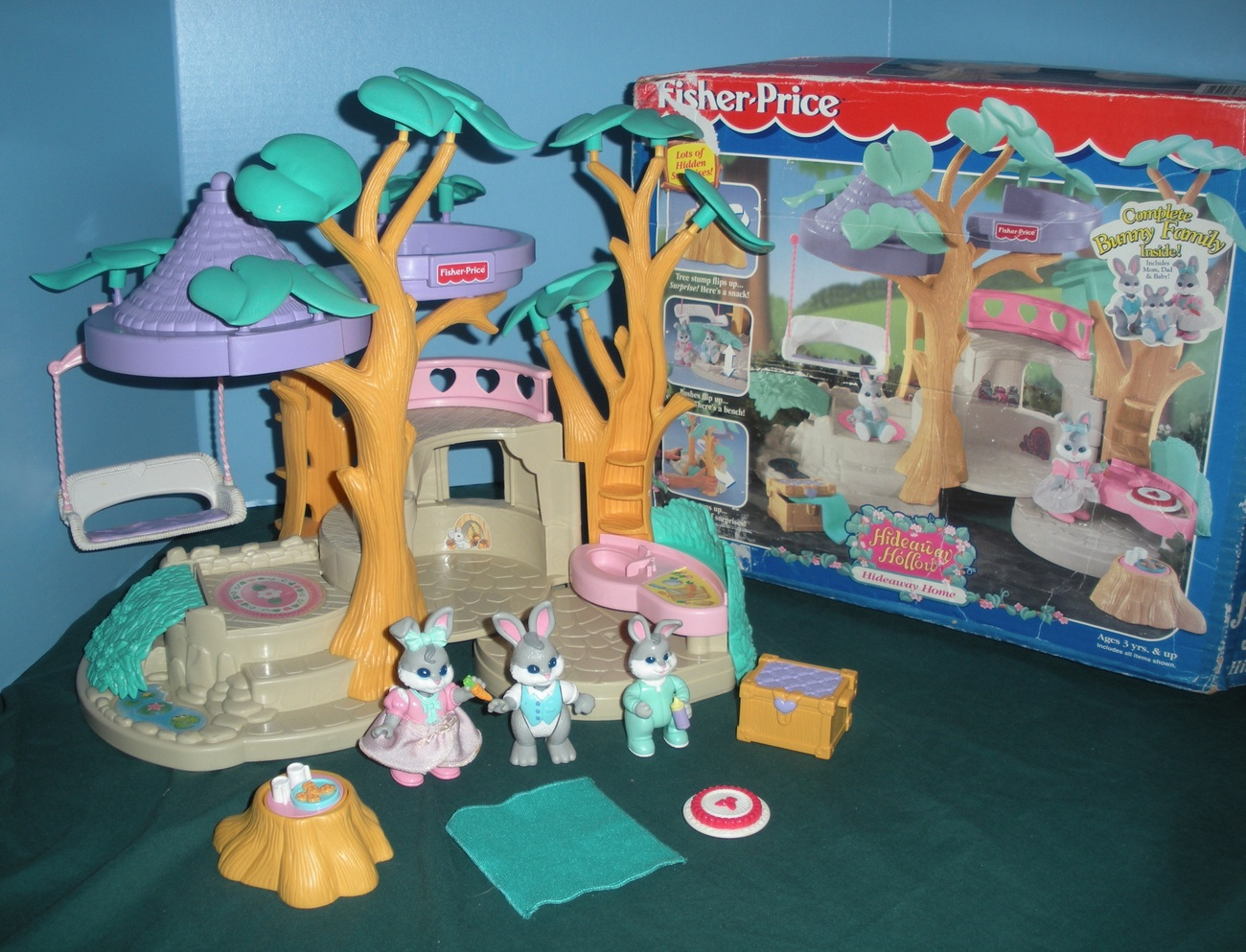 Home Play Toys : Vintage fisher price hideaway hollow bunny home