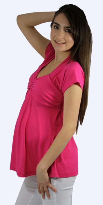 Image 1 of Flirty Hot Pink Princess Peasant Top/White Pants Maternity Set for Work/Play USA