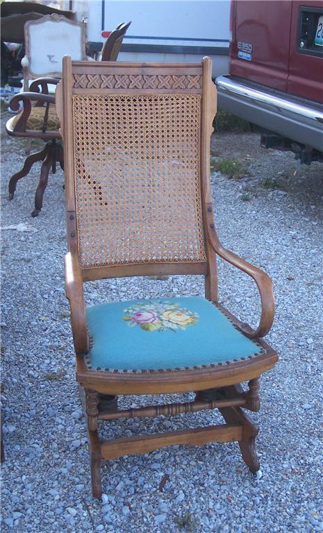 Walnut Eastlake Carved Rocker/Rocking Chair - Post-1950