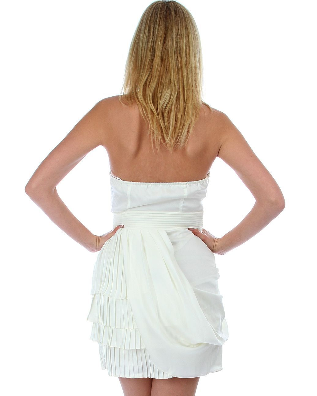 Image 1 of Sexy Juniors Strapless Ivory Tiered Draped Party Cruise Club Mini Dress - Ivory/