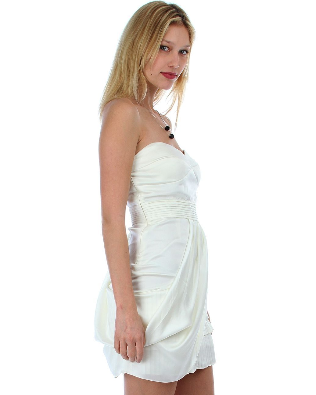 Image 3 of Sexy Juniors Strapless Ivory Tiered Draped Party Cruise Club Mini Dress - Ivory/