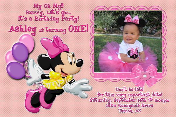 Mickey & Minnie Mouse Personalized Birthday  Invitation