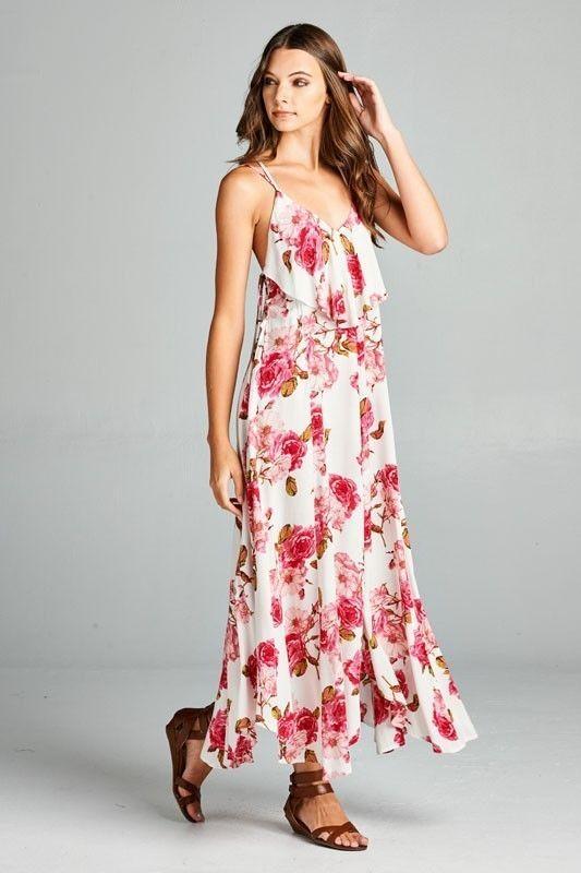 Image 1 of Flirty Boho Ivory Pink Floral Spaghetti Side Lace-up Party Cruise Maxi Jr Dress