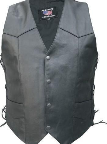 Mens Motorcycle Biker Buffal Leather Vest Western Side Lace  Allstate Leather