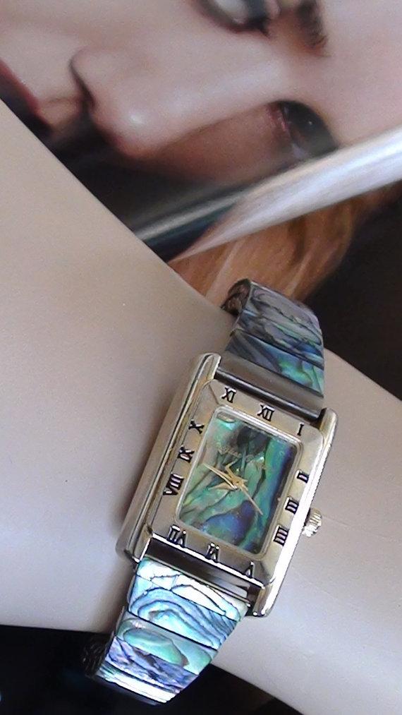 Vintage Jacques Couture Paua Shell Quartz Movement Watch Open Size Bracelet Ladi