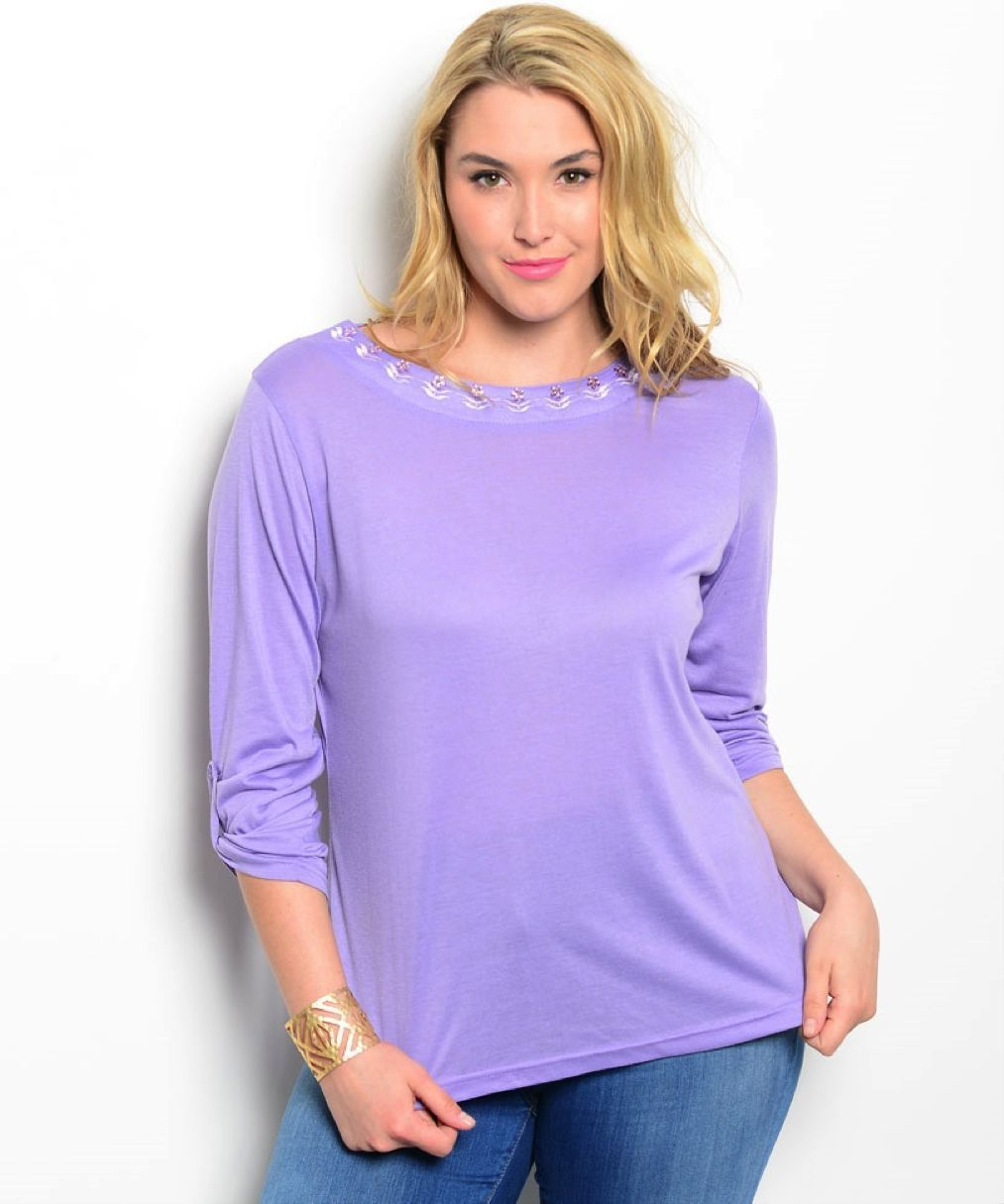 Image 0 of Romantic Purple Polyester 3/4 Plus Sleeves Tunic Top, Embellished Neckline - Pur