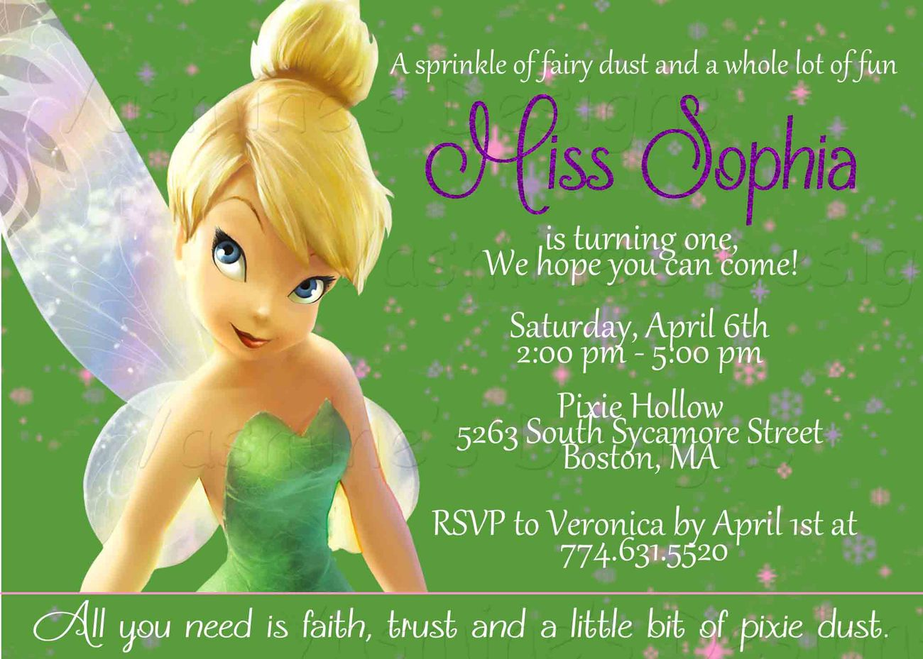 Green Tinkerbell Printable Invitations Birthday Girl Fairy Invitation on Printable Ws