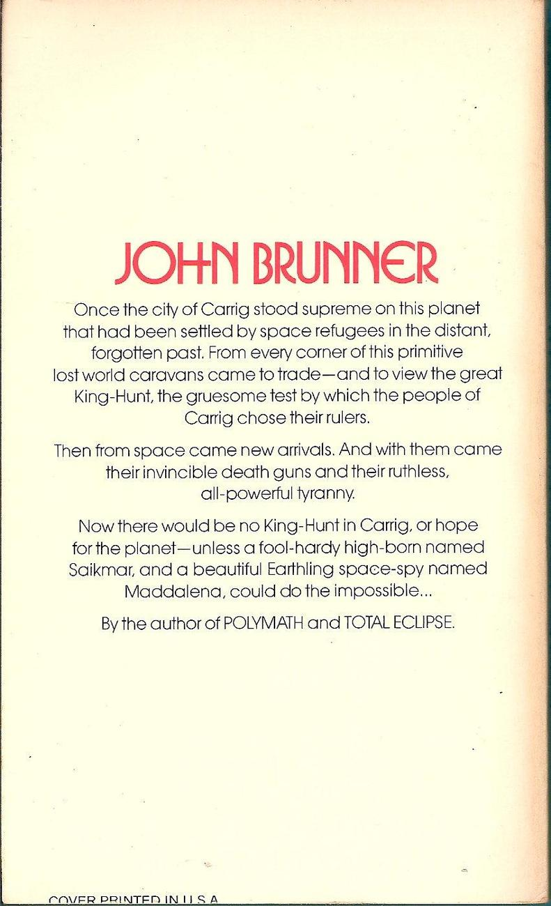 Image 1 of The Avenger Of Carrig by John Brunner 1980 Daw 369