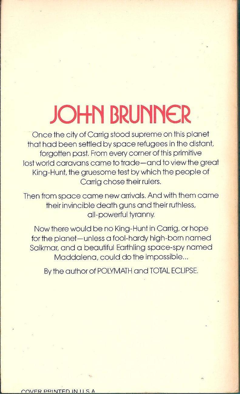 Image 1 of The Avenger Of Carrig by John Brunner 1980 Daw 369