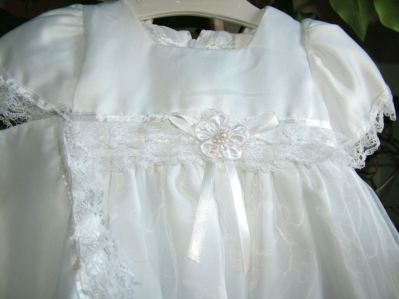 Image 1 of Baby Girls Embroidered Whites Christening Boutique Polyester Dress Set, S Square