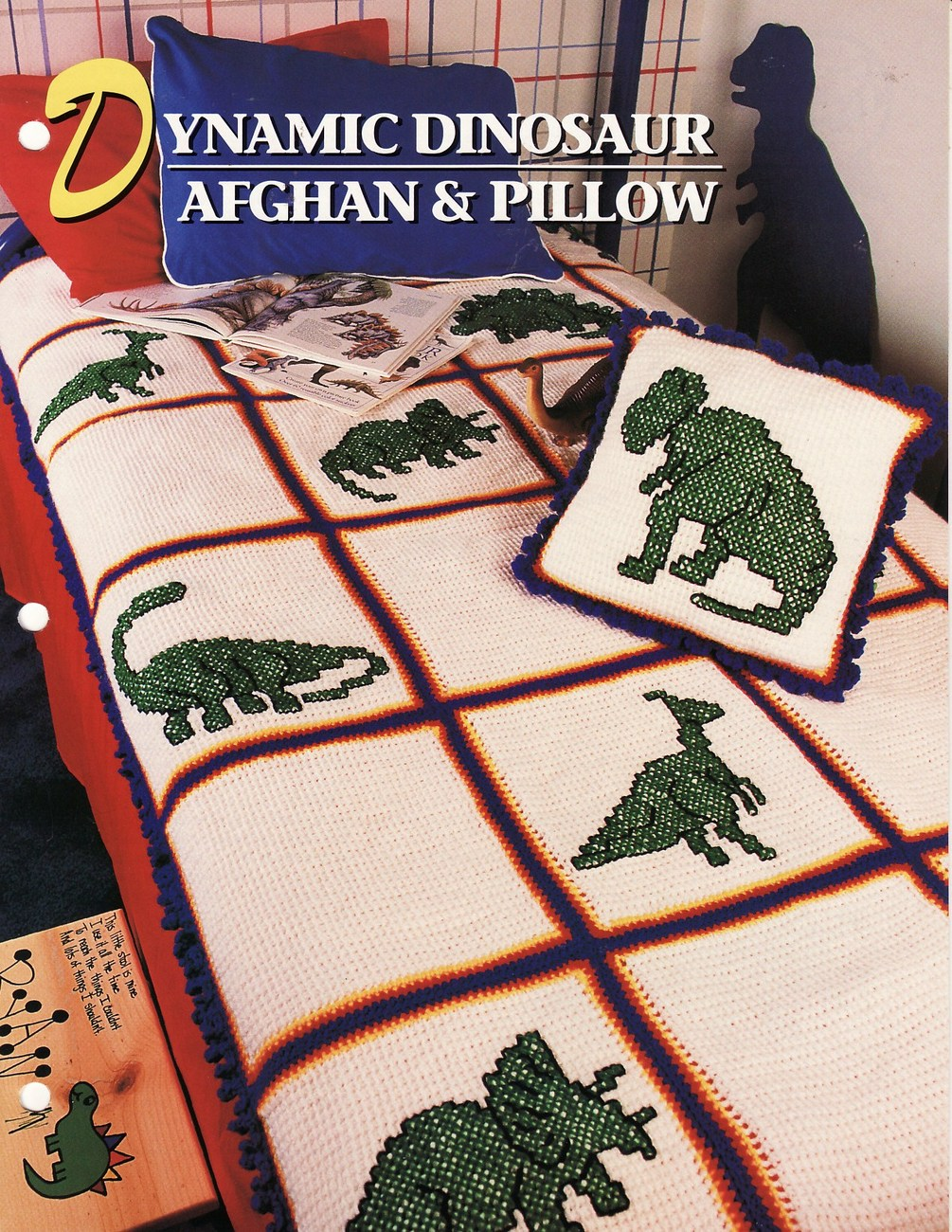 Dynamic Dinosaur Afghan & Pillow Crochet Pattern Annies Attic Cynthia Harris