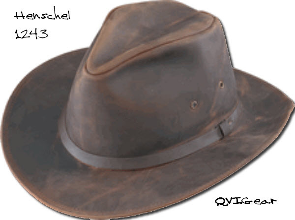 Henschel Hats 1243 Distressed Full Grain Leather Safari Crushable Made In USA
