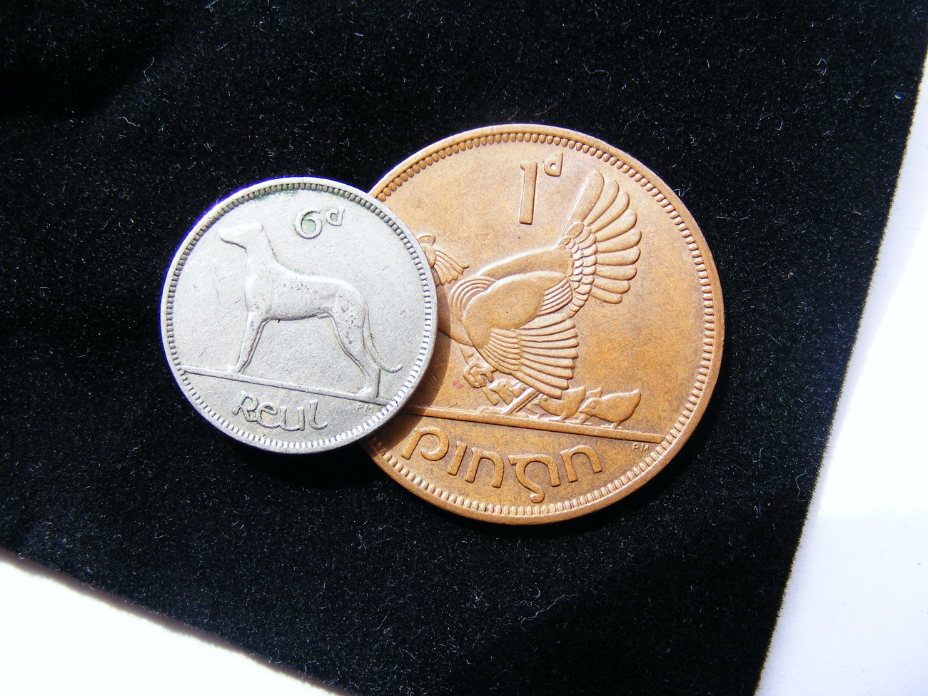 Authentic Lucky Irish Wedding Coins - A Sixpence And A Penny In A Plush Velvet P