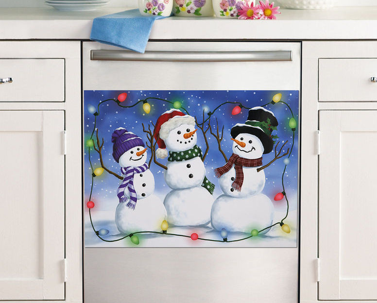 Glow In The Dark Trio Snowman Dishwasher Cover Magnet