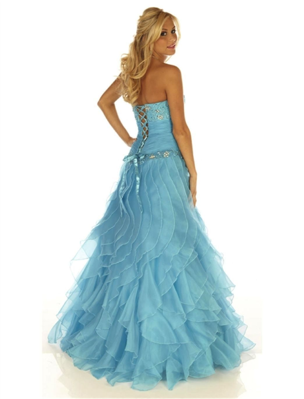 Image 3 of Sexy Strapless Corset Aqua Cinderella Mermaid Prom Evening Gown Joli 9538 12