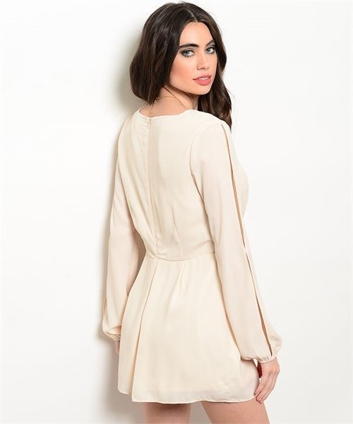 Image 1 of Sexy Cream Party Cruise Short Polyester Long Split Sleeve Romper Jrs S, M or L -