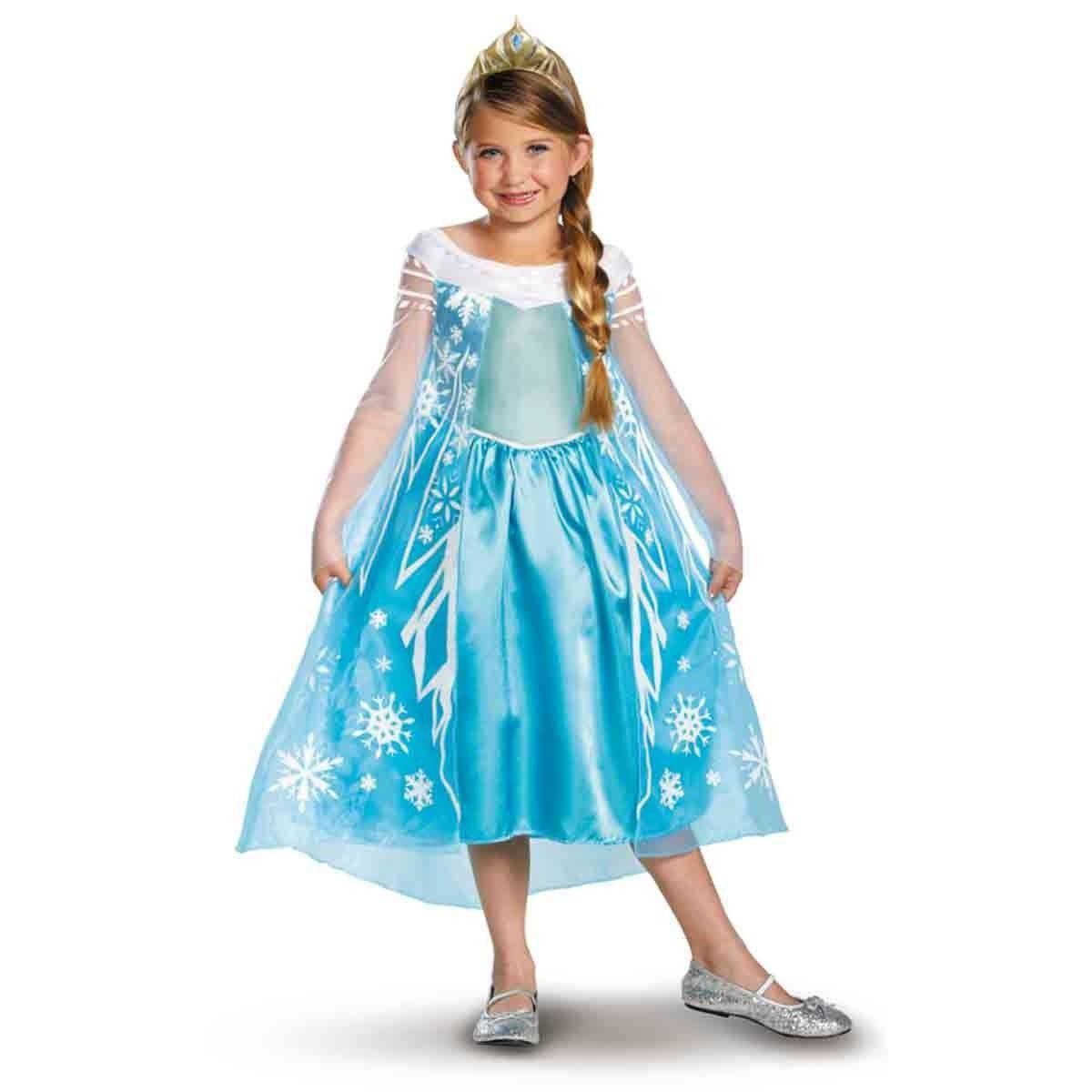Image 0 of Frozen Princess Elsa Deluxe Aqua Blue Dress Child Costume/Tiara Disguise 56998 -