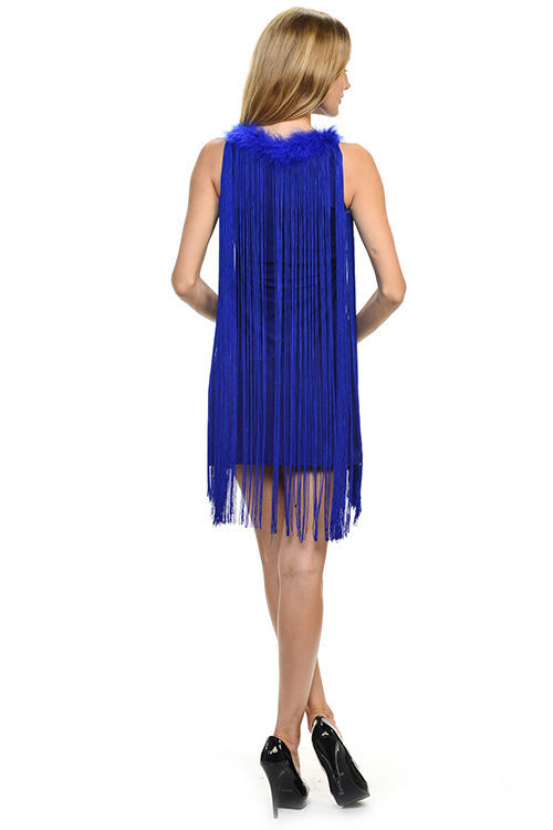 Image 4 of Sexy Jrs Fringe Royal Blue or Red Lined Party Mini Dress Faux Fur Collar S, M, L