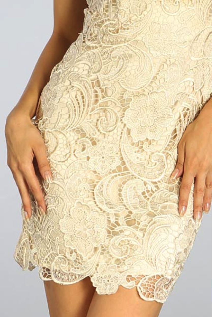 Image 2 of Elegant Chic Lace Lined Dress, Wedding Cocktail Club Party, Champagne Ivory