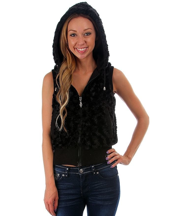 Image 1 of Fun Sexy Hooded Reversible Knit/Faux Fur Vest by Rock Revolution 3 Color Choices