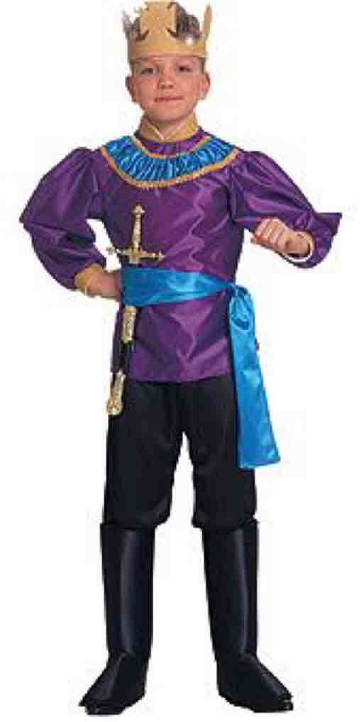 Deluxe Renaissance Faire Little King Purple Blue Costume w/Crown, Rubies 10645 -
