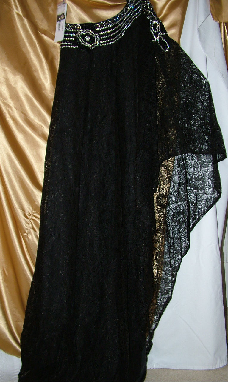 Image 4 of Sexy One Shoulder Grecian MOB Prom Black or Ivory All Over Lace Lined Dress $498