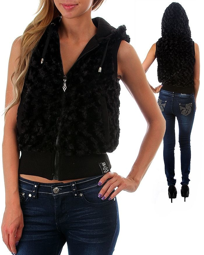 Image 5 of Fun Sexy Hooded Reversible Knit/Faux Fur Vest by Rock Revolution 3 Color Choices