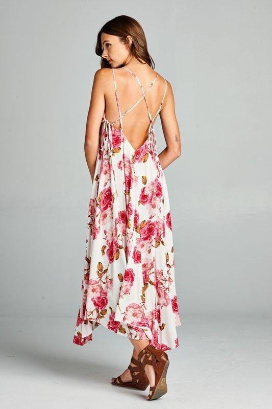 Image 3 of Flirty Boho Ivory Pink Floral Spaghetti Side Lace-up Party Cruise Maxi Jr Dress