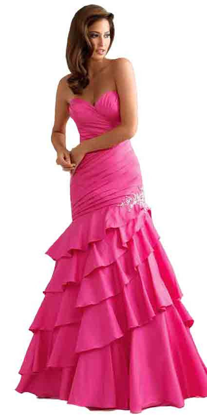 Image 0 of Sexy Strapless Fuchsia Pink Mermaid Prom Pageant Evening Gown Dress, Night Moves