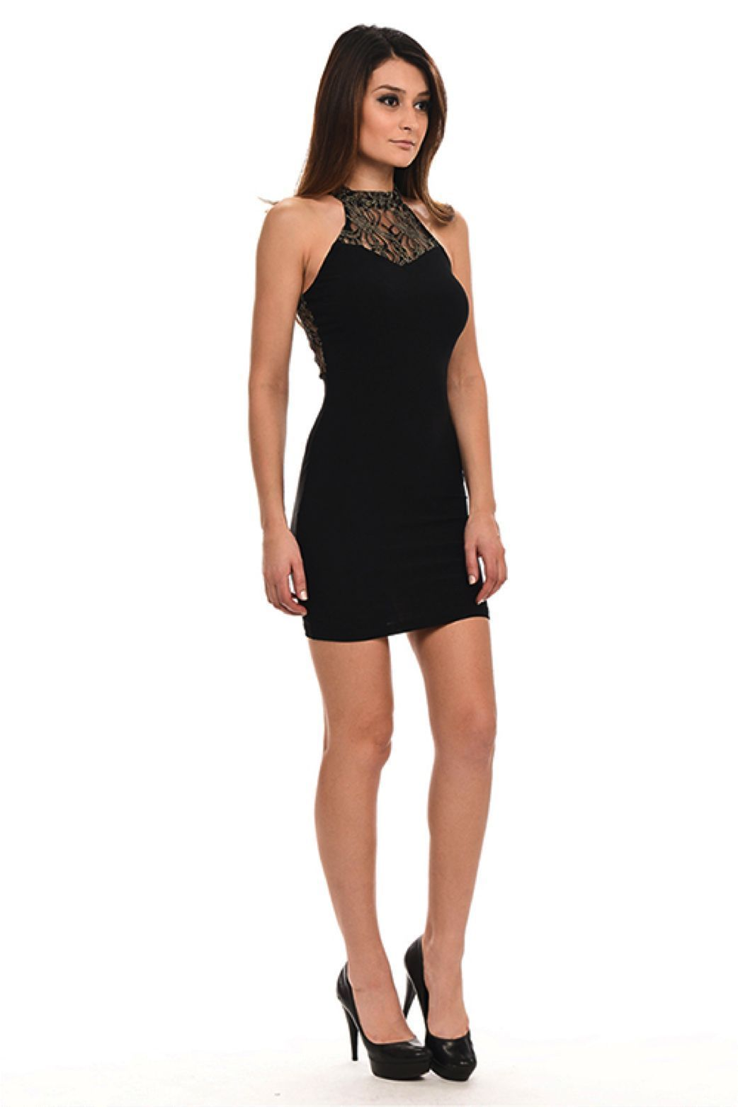 Image 2 of Sexy Black Halter Gold Mesh Lace Neck/Racer Track Back Party Mini DressLydia - L