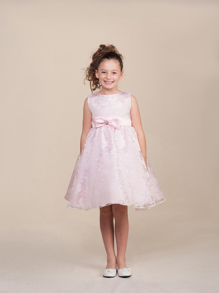 Sweet Pink Lace/Satin Flower Girl Holiday Party Pageant Dress, Crayon Kids USA -