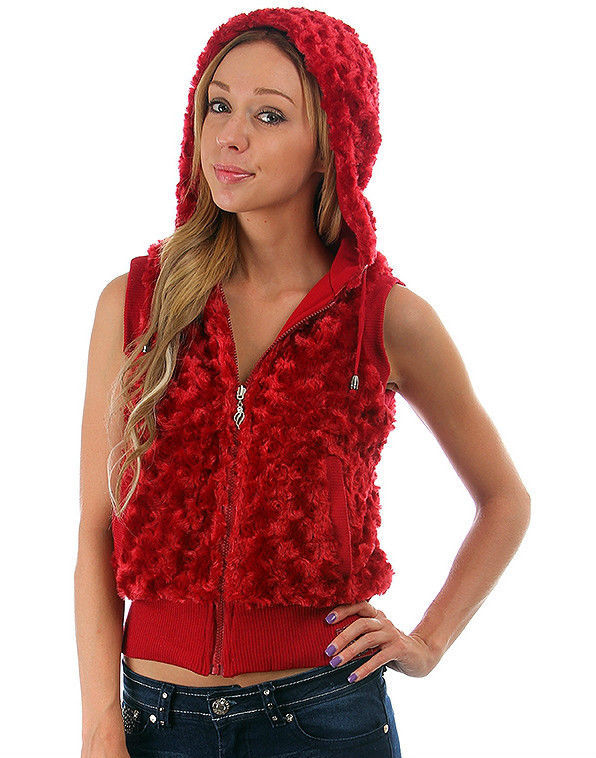 Image 3 of Fun Sexy Hooded Reversible Knit/Faux Fur Vest by Rock Revolution 3 Color Choices