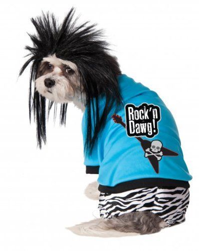 Image 0 of Hot Zebra Rock Star Pet Dog Costume and Wig, Rubies 580090 - Blue - Polyester -