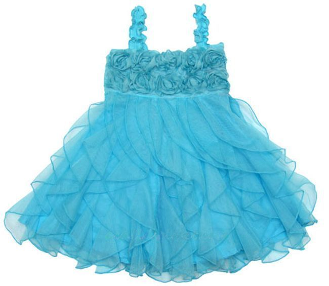 Image 2 of Fun Flirty Precious One Posh Kid Cascading Ruffles Tulle Dress, Fuchsia or Aqua