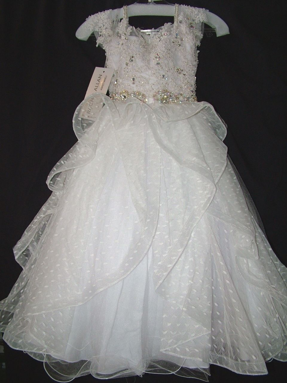 Image 2 of Perfect Angels Little Girls' Beaded Tiered All White Pageant/Flower Gown Dress -
