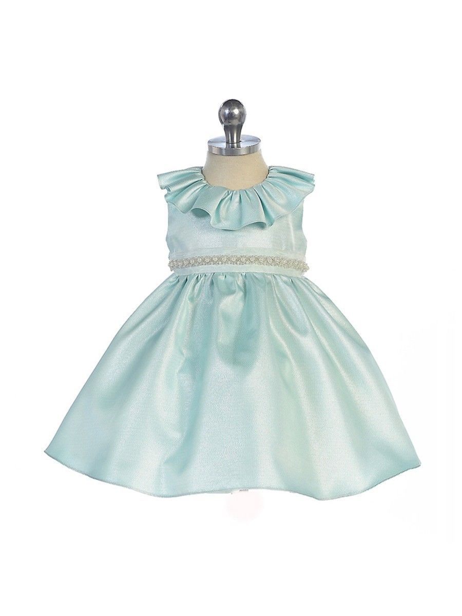 Image 2 of Stunning Sage Satin Flower Girl Pageant Dress w/ Beaded Neckline, Crayon Kids -