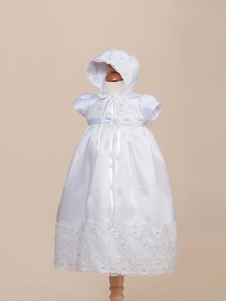 Image 0 of Gorgeous White Lace Baby Girl Christening Dress Hat Set, Crayon Kids USA BC 236
