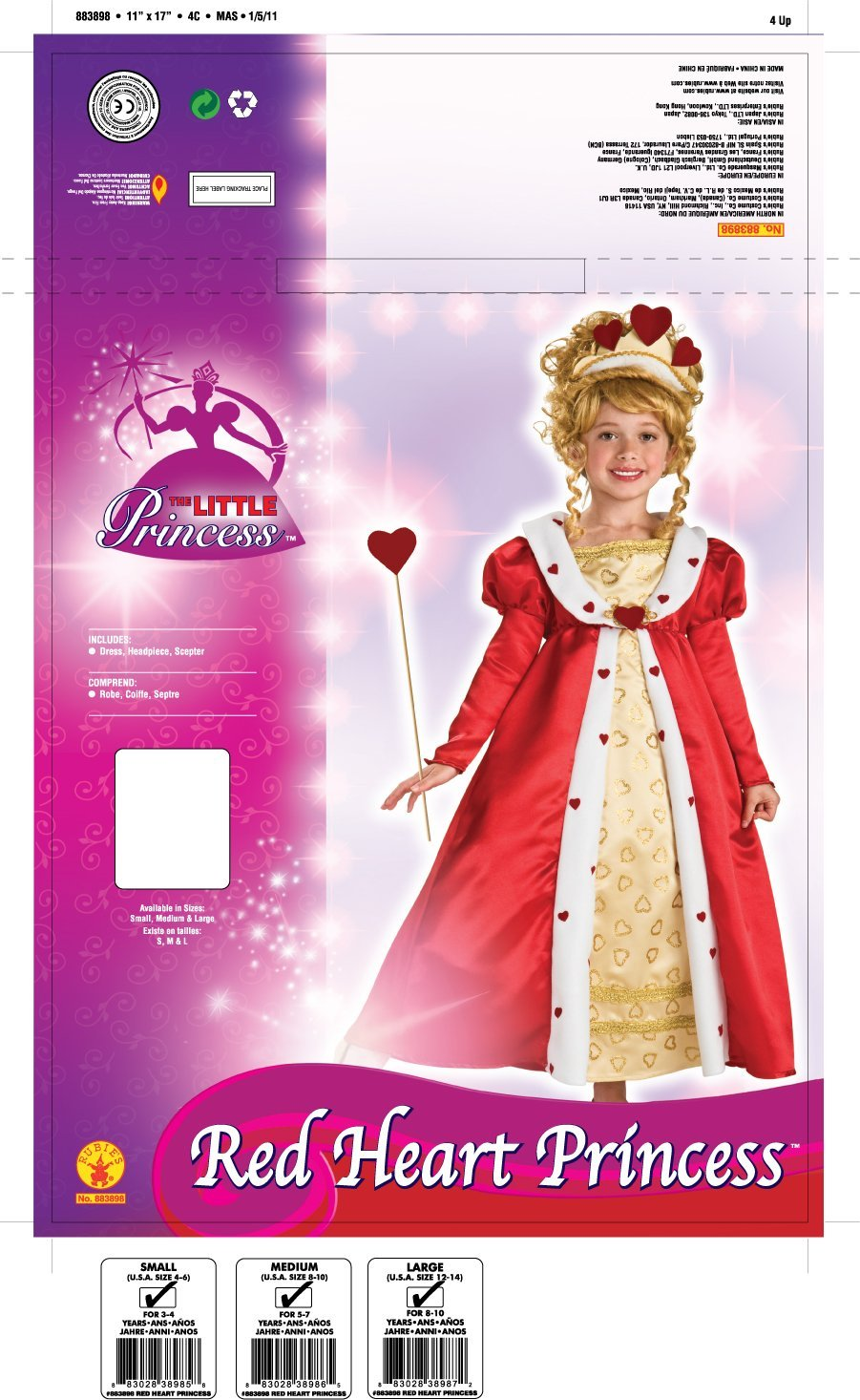 Image 1 of Rubie's Red Heart Princess Costume - Medium (8-10) or Large (12-14) - Rubies Lar