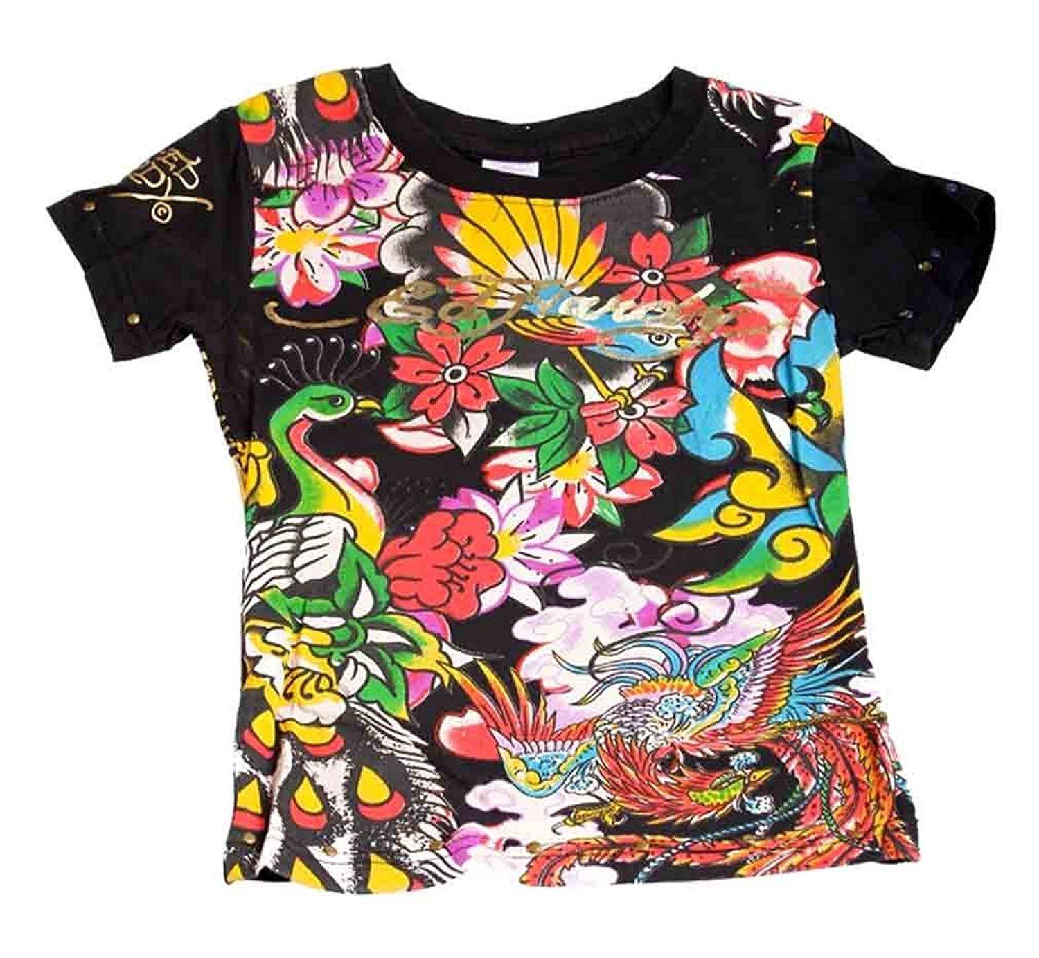Image 0 of Ed Hardy Girls Black Tee Shirt W/birds Flowers Motif, Short Sleeve