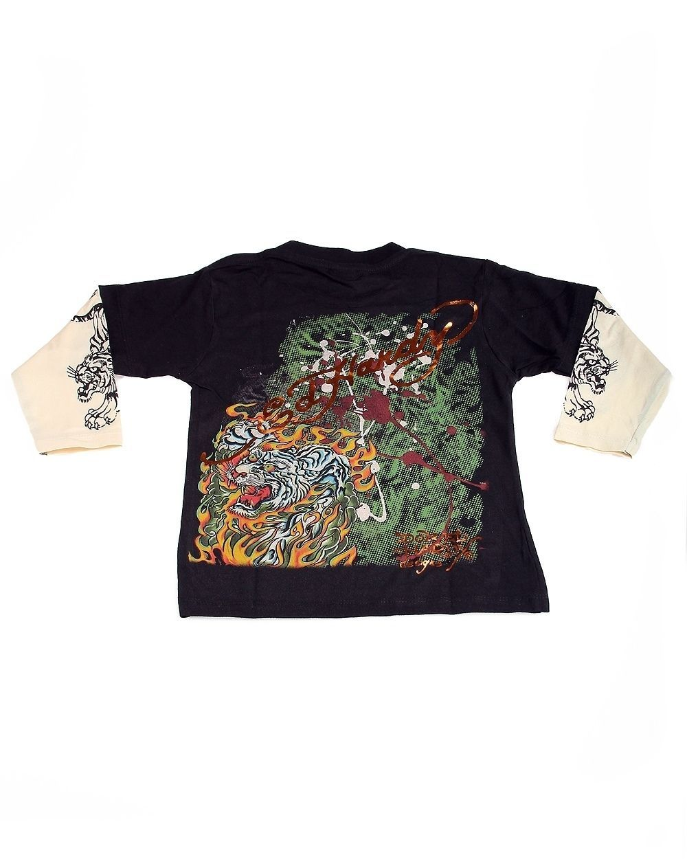 Image 1 of Popular Ed Hardy Boys Black Tee Shirt with White Tiger Motif, Double Long Sleeve