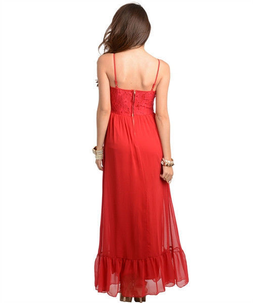 Image 3 of Sexy Long Chiffon Party Cocktail Club Cruise Dress, Black or Burgundy Red - Blac