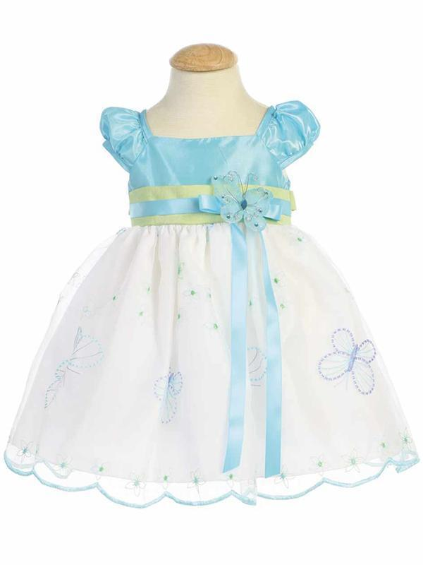 Image 2 of Gorgeous Boutique Blue Green Embroidered Flower Girl Party Dress Lito USA