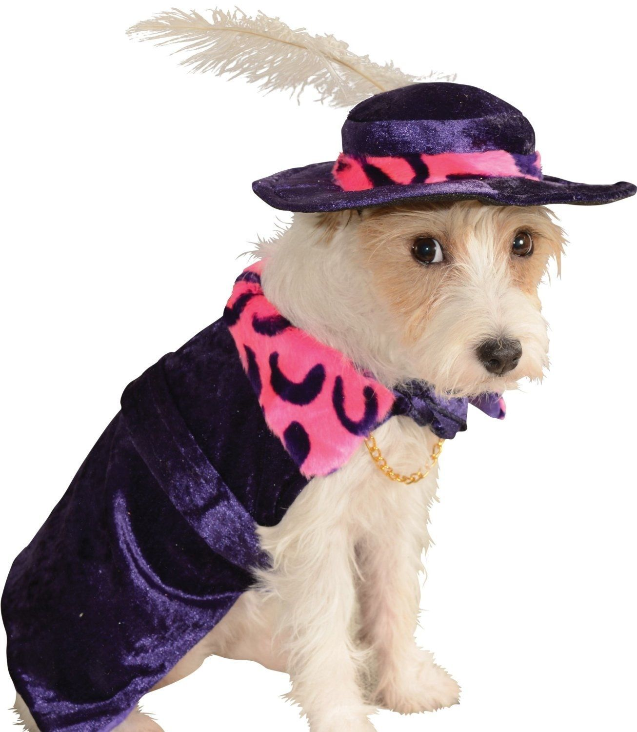 Image 2 of Amazing Purple Pet Dog Costume: Mac 'Sugar' Daddy Flamboyant Cape/Hat, Rubies -