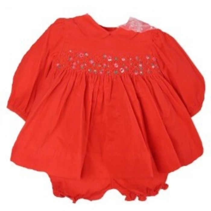 Image 2 of Gorgeous Red Smocked Baby Girl Dress & Bloomers Set, Carriage Boutique - 6 Month