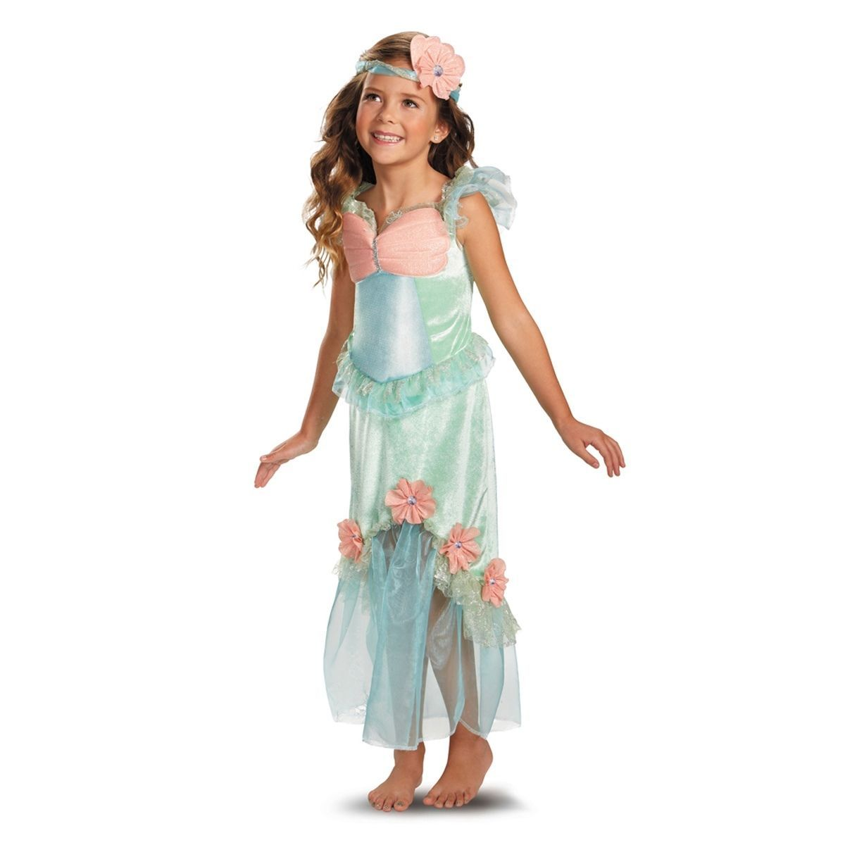 Precious Mystical Mermaid Princess Aqua/Coral Polyester Dress/Headpiece Disguise