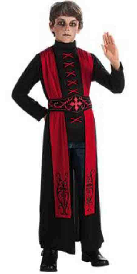 Image 1 of Deluxe Gothic Priest Boys Red Black Robe Costume, Rubies 881447