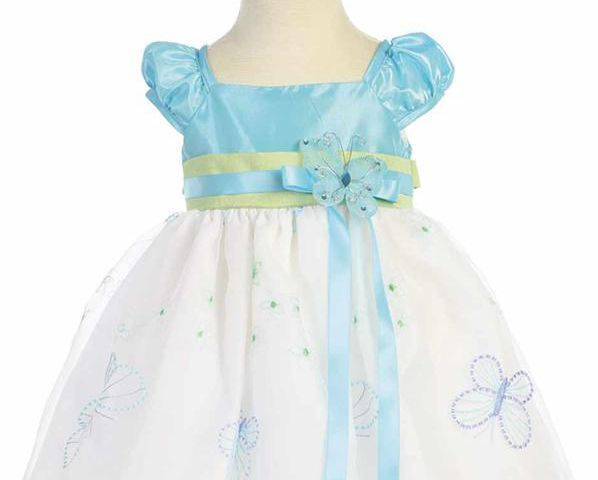 Image 1 of Gorgeous Boutique Blue Green Embroidered Flower Girl Party Dress Lito USA