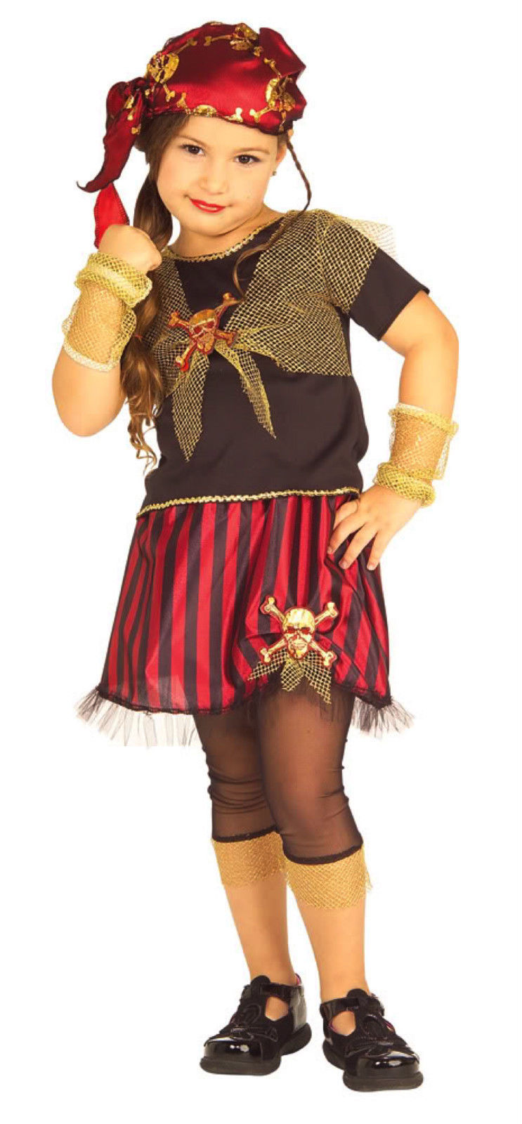 Image 2 of Precious Pirate Princess of the Sea Girls Complete Sassy Costume by Rubies - Red