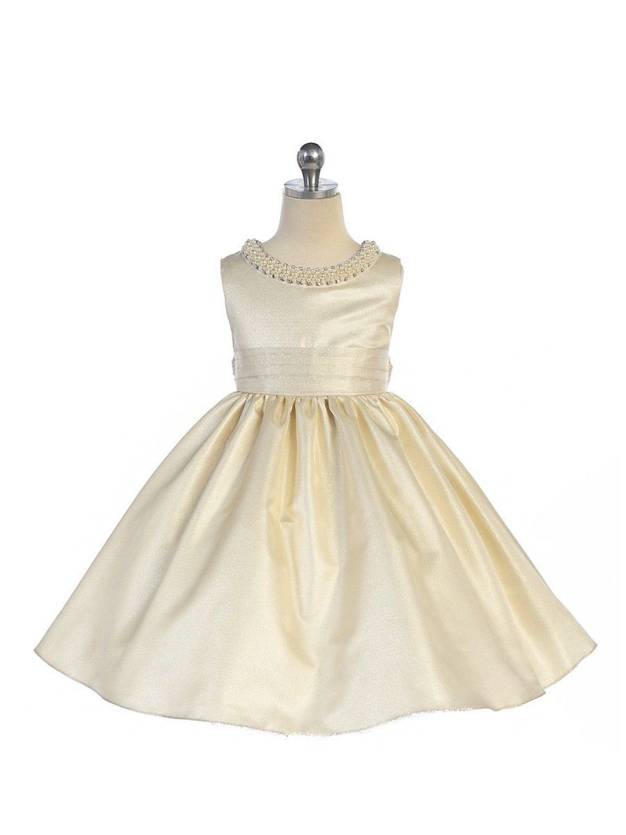 Image 4 of Stunning Sage Satin Flower Girl Pageant Dress w/ Beaded Neckline, Crayon Kids -